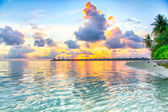 Beautiful sunset with softly clouds — Stock Photo