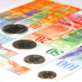 Money. Swiss franc background — Stock Photo