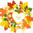 Frame of autumn leaves, hearts and buttons — Stock Vector