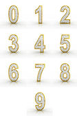 3D rendering of golden, silver numbers. — Stock Photo