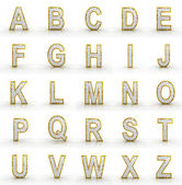 3D rendering of silver-gold alphabet. — Stock Photo