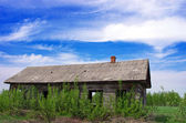 Old wooden house in ukrainien village — Stock Photo