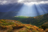 Autumn morning mountain plateau landscape (Carpathian, Ukraine) — Stockfoto