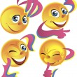 Four cheerful smileys - Stock Vector