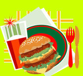 Decorative image of a great burger — Stock Vector