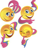 Four cheerful smileys — Stock Vector