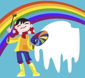 女孩-艺术家绘制一条彩虹 — 图库矢量图片