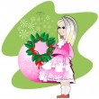 Girl and a Christmas wreath — Stock Vector