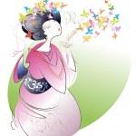 Geisha in pink kimono — Stock Vector #13370341