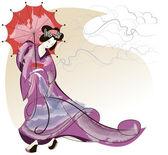 Geisha in pink kimono — Stock Vector