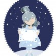 Snow Maiden in the blue dress — Stock Vector