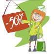 Vector de stock : Funny image of shopping girl