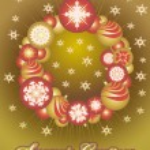 Wreath ������of Christmas gold balls — Stock Vector
