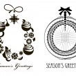 Ttwo Christmas Black - white  wreaths — Stockvektor