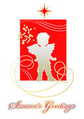 Christmas card with a Golden silhouette of the little angel — Stock Vector