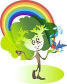 Tree and Rainbow — Stock Vector
