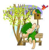 Little leprechaun with a birdhouse — Stock Vector