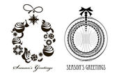 Ttwo Christmas Black - white wreaths — Stock Vector