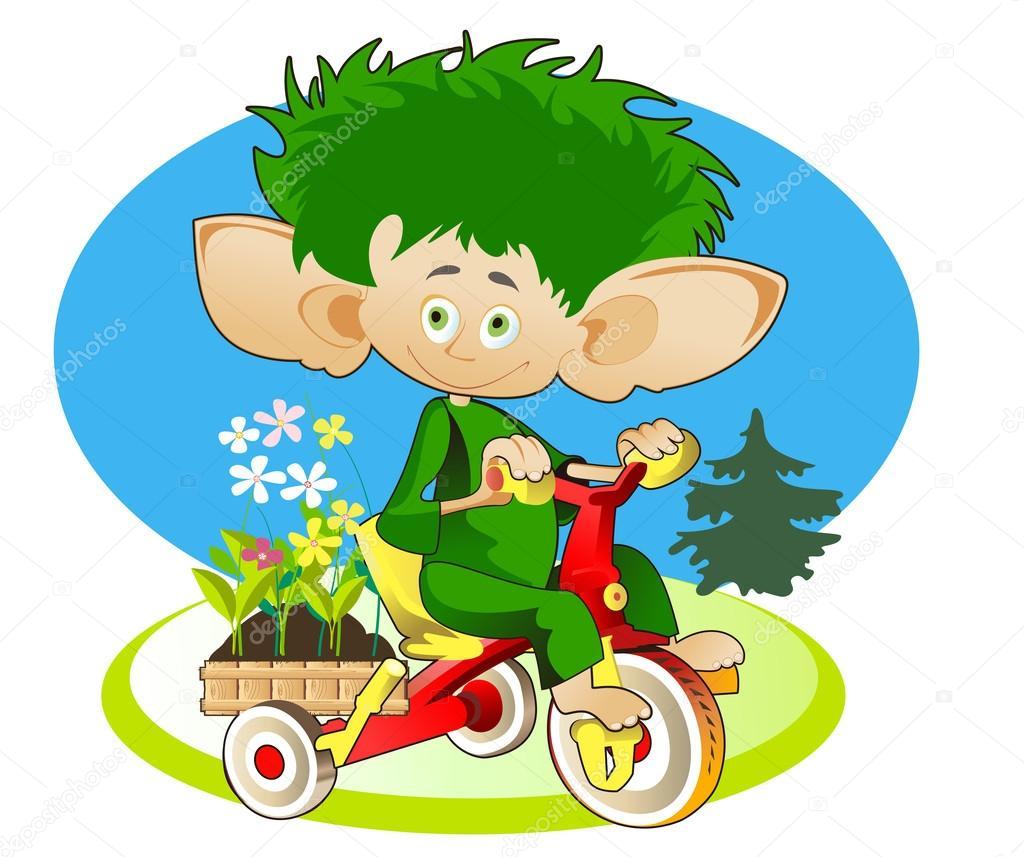 小侏儒-园丁运载儿童自行车框与花为花床上 — 矢量图片作者 bona
