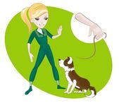 训练一只小狗 — 图库矢量图片