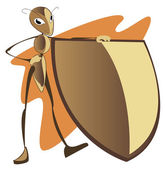 Ant with a shield — Vector de stock