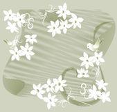 Garland of white flowers — Stock Vector