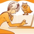 Girl with a laptop and an owl — Stock Vector #27276009