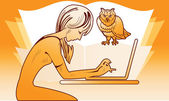 Girl with a laptop and an owl — Stock Vector