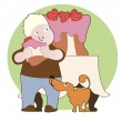 Strawberry cake, boy and his dog — Stock Vector