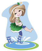 Little girl in rubber boots — Stock Vector