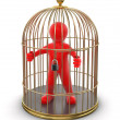 Stock Photo: Gold Cage with Man
