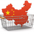 Stock Photo: Shopping Basket and Chinmap