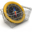 Stock Photo: Shopping Basket and Compass