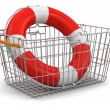 Stock Photo: Shopping Basket and Lifebuoy