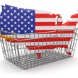 Stock Photo: Shopping Basket and USmap