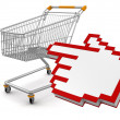 Shopping cartt and Cursor — Stock Photo