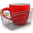 Stock Photo: Shopping Basket and Cup