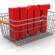 Stock Photo: Shopping basket and Hot