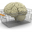 Stock Photo: Shopping Basket and brain