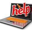 Stock Photo: Laptop and Help