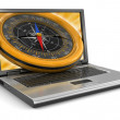 Laptop and Compass — Stock Photo