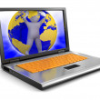 Laptop and Globe and human — Foto de stock #31777633