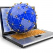 Laptop and Network on globe — Stock Photo