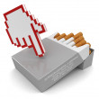 Cursor and Cigarette Pack — Stock Photo