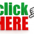 Click here text and computer hand cursor — Stock Photo #31777975