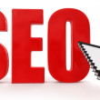 Seo red and a hand cursor — Foto de Stock