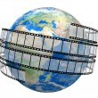Film Strip and globe — Stock Photo