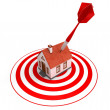 Red dart on house target — Stock Photo