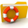 Folder and Lifebuoy — Stock Photo