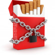 Stock Photo: Cigarette Pack and chain